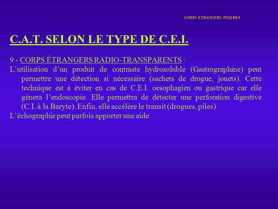CORPS ETRANGERS INGERES C.A.T. SELON LE TYPE DE C.E.I. 9 - CORPS ÉTRANGERS RADIO-TRANSPARENTS : Lutilisation dun produit de contraste hydrosoluble (Ga