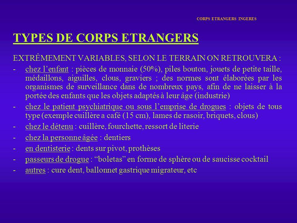 CORPS ETRANGERS INGERES TYPES DE CORPS ETRANGERS EXTRÊMEMENT VARIABLES, SELON LE TERRAIN ON RETROUVERA : -chez lenfant : pièces de monnaie (50%), pile