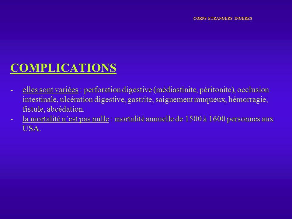 CORPS ETRANGERS INGERES COMPLICATIONS -elles sont variées : perforation digestive (médiastinite, péritonite), occlusion intestinale, ulcération digest