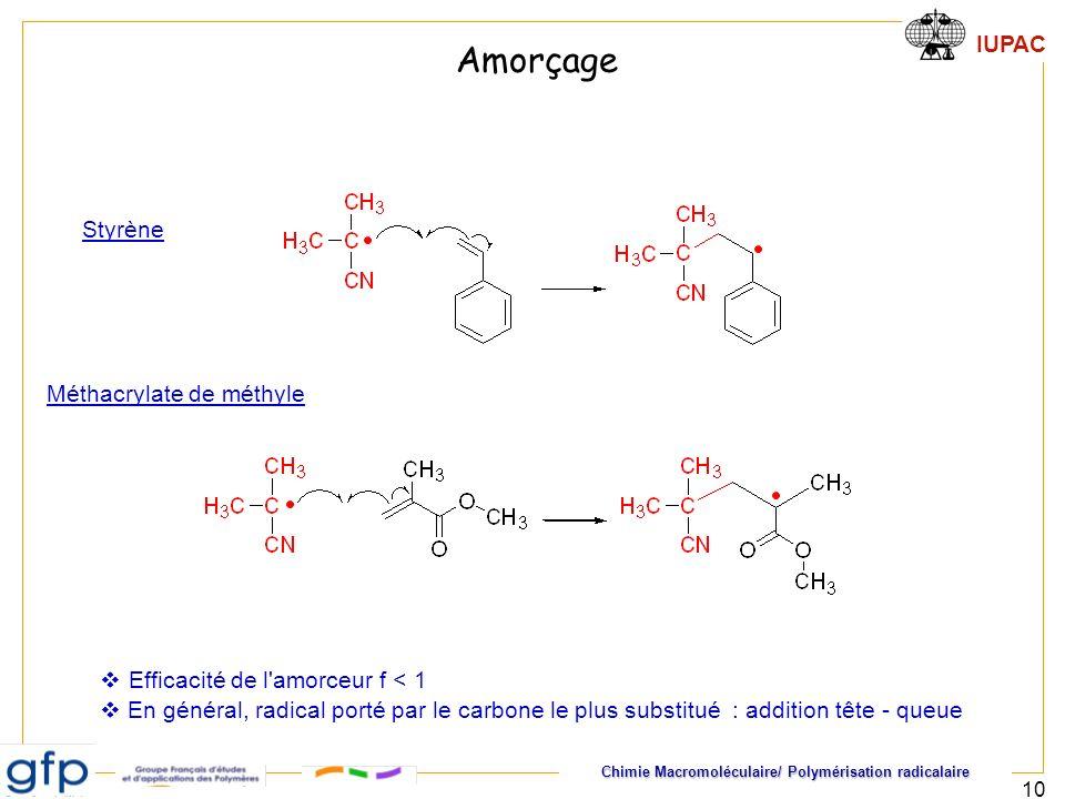 Chimie Macromoléculaire/ Polymérisation radicalaire IUPAC 10 Amorçage Styrène Méthacrylate de méthyle Efficacité de l'amorceur f < 1 En général, radic