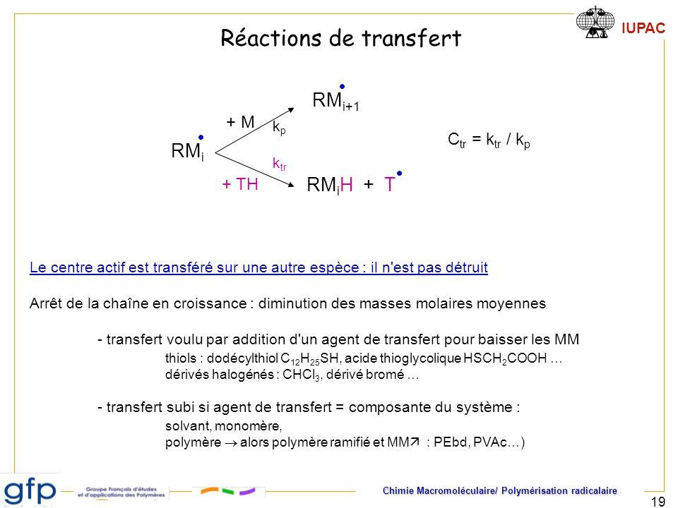 Chimie Macromoléculaire/ Polymérisation radicalaire IUPAC 19 Le centre actif est transféré sur une autre espèce : il n'est pas détruit Arrêt de la cha