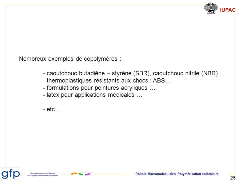 Chimie Macromoléculaire/ Polymérisation radicalaire IUPAC 25 Nombreux exemples de copolymères : - caoutchouc butadiène – styrène (SBR), caoutchouc nit