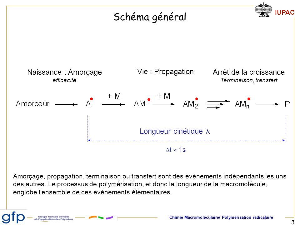 Chimie Macromoléculaire/ Polymérisation radicalaire IUPAC 3 Naissance : Amorçage efficacité Vie : Propagation Arrêt de la croissance Terminaison, tran