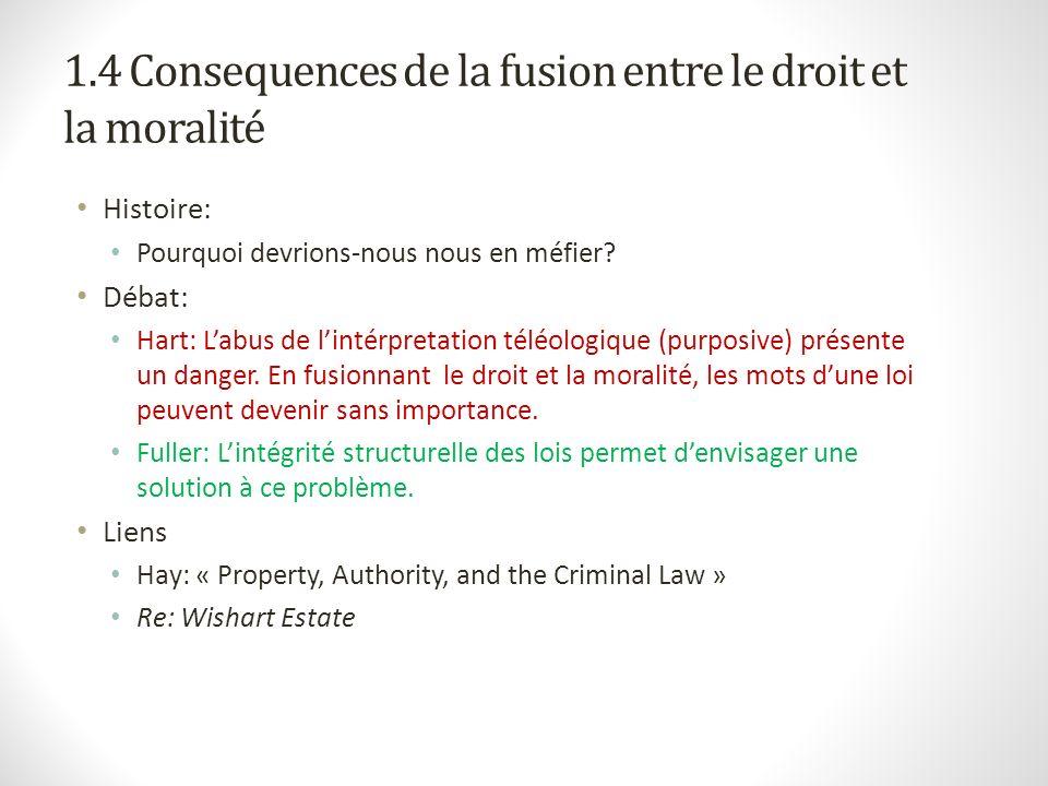 1.4 Consequences de la fusion entre le droit et la moralité Histoire: Pourquoi devrions-nous nous en méfier? Débat: Hart: Labus de lintérpretation tél