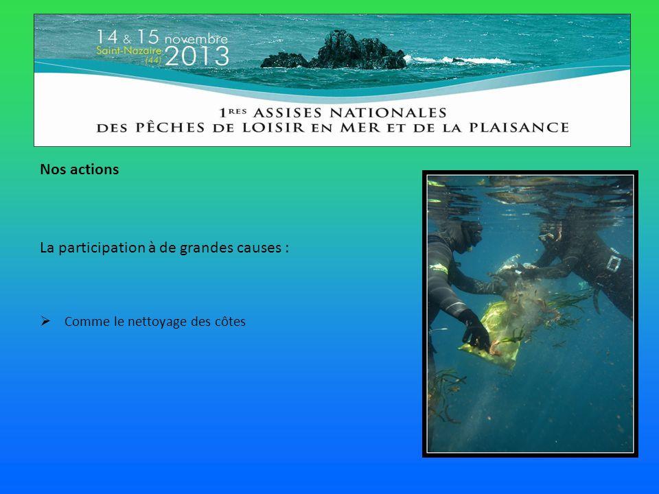 Nos actions La participation à de grandes causes : Comme le nettoyage des côtes