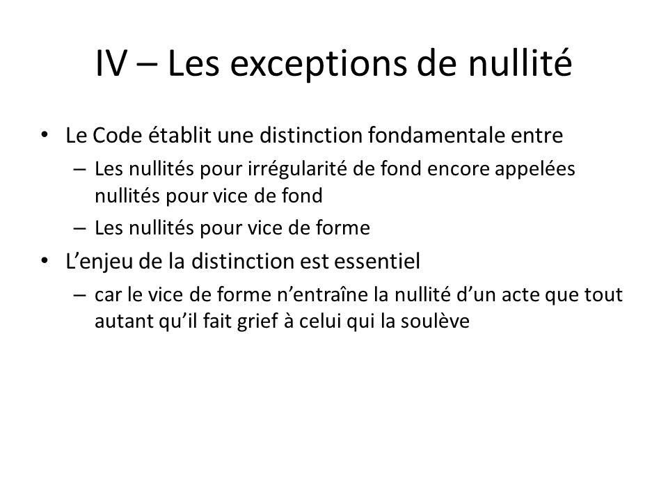 IV – Les exceptions de nullité Le Code établit une distinction fondamentale entre – Les nullités pour irrégularité de fond encore appelées nullités po