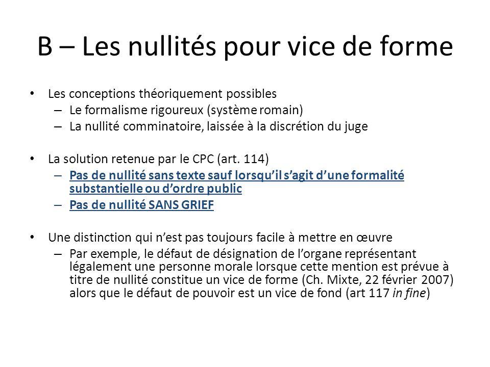 B – Les nullités pour vice de forme Les conceptions théoriquement possibles – Le formalisme rigoureux (système romain) – La nullité comminatoire, lais