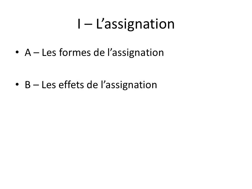I – Lassignation A – Les formes de lassignation B – Les effets de lassignation