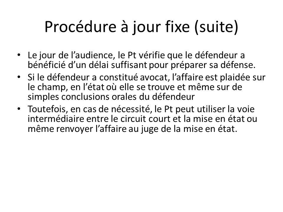 Procédure à jour fixe (suite) Le jour de laudience, le Pt vérifie que le défendeur a bénéficié dun délai suffisant pour préparer sa défense. Si le déf