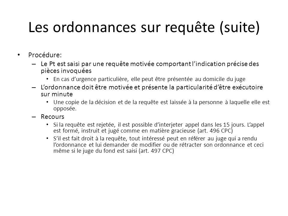 Les ordonnances sur requête (suite) Procédure: – Le Pt est saisi par une requête motivée comportant lindication précise des pièces invoquées En cas du