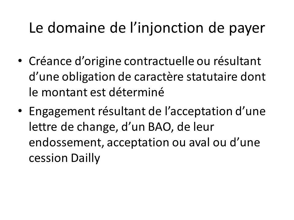 Le domaine de linjonction de payer Créance dorigine contractuelle ou résultant dune obligation de caractère statutaire dont le montant est déterminé E