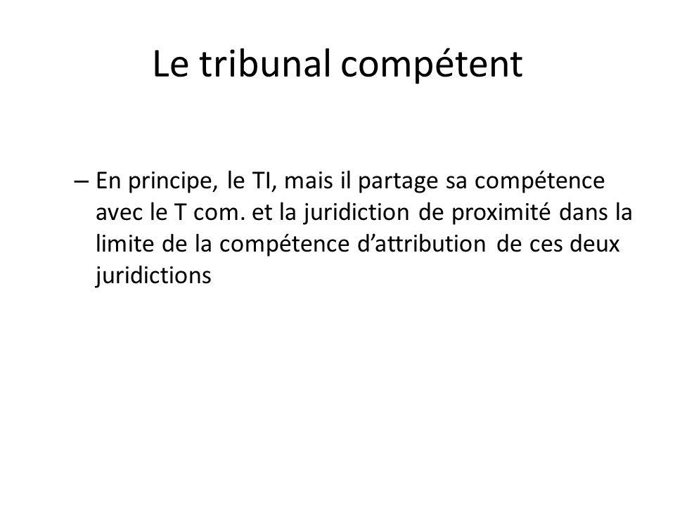 Le tribunal compétent – En principe, le TI, mais il partage sa compétence avec le T com. et la juridiction de proximité dans la limite de la compétenc