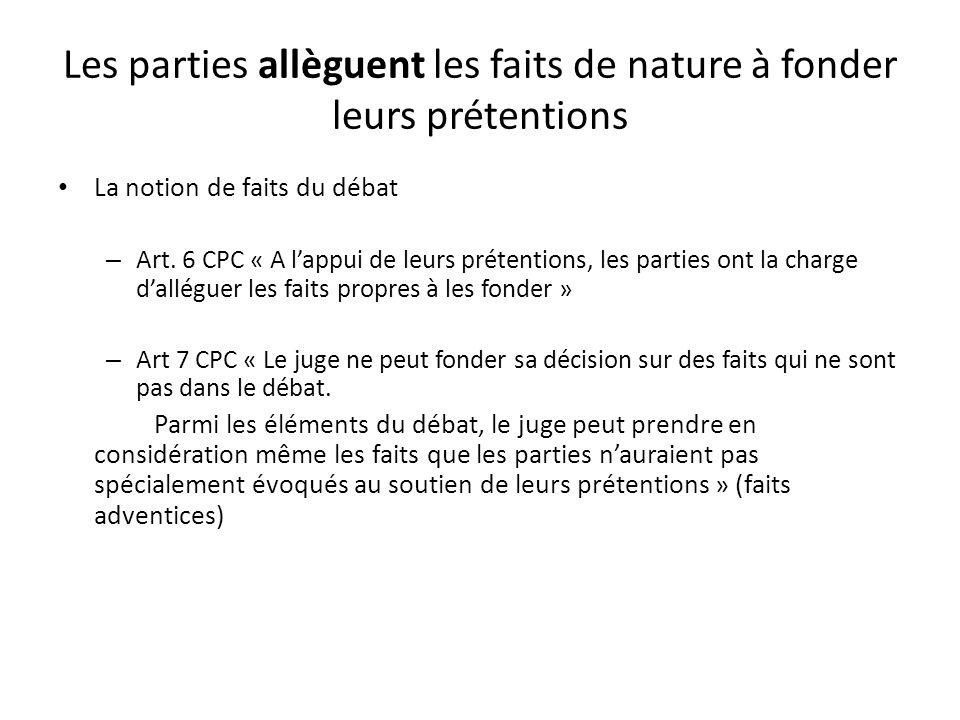 Les parties allèguent les faits de nature à fonder leurs prétentions La notion de faits du débat – Art. 6 CPC « A lappui de leurs prétentions, les par