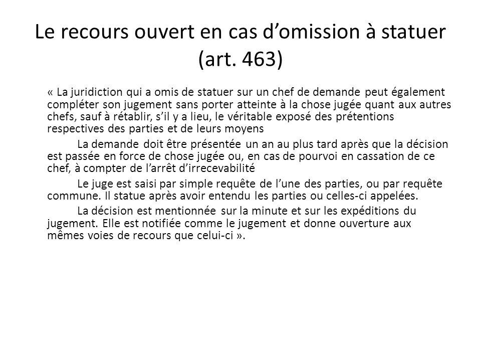 Le recours ouvert en cas domission à statuer (art. 463) « La juridiction qui a omis de statuer sur un chef de demande peut également compléter son jug