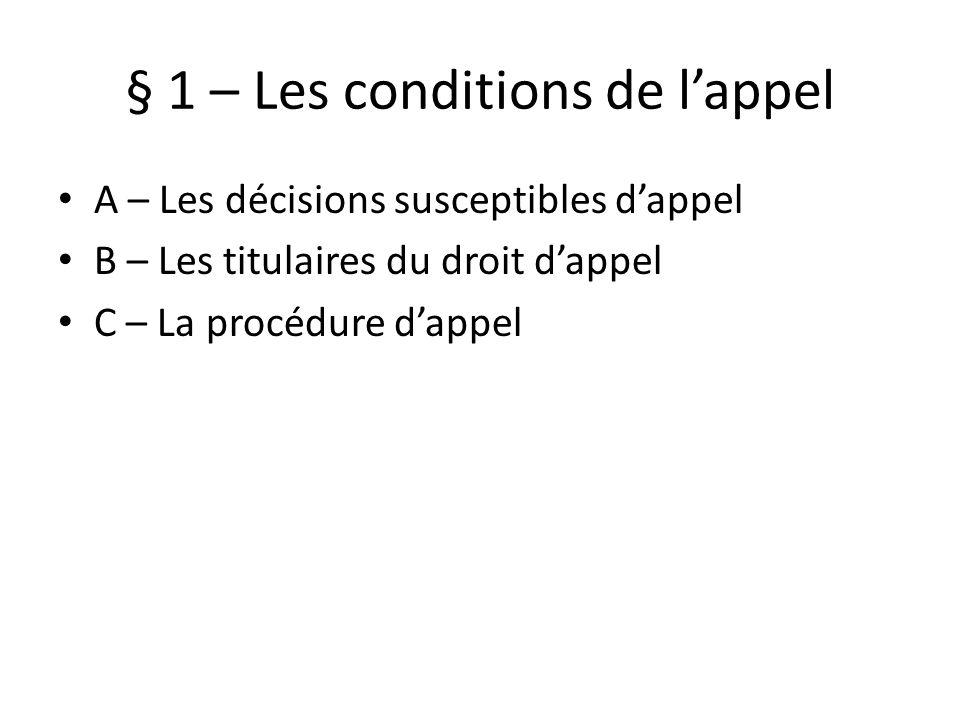 § 1 – Les conditions de lappel A – Les décisions susceptibles dappel B – Les titulaires du droit dappel C – La procédure dappel