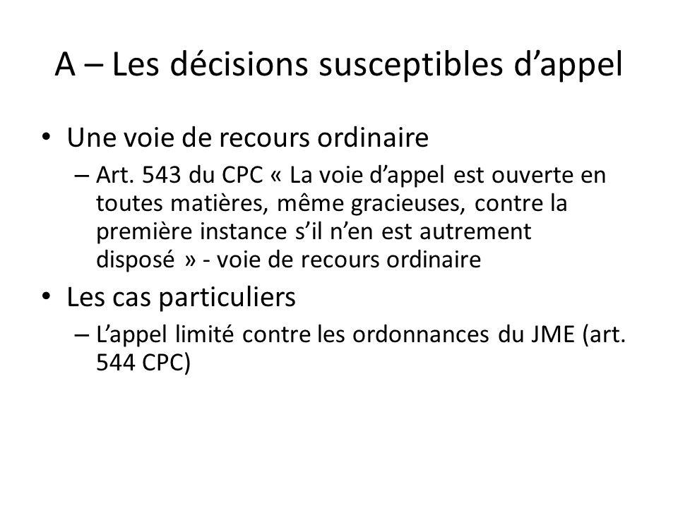 A – Les décisions susceptibles dappel Une voie de recours ordinaire – Art. 543 du CPC « La voie dappel est ouverte en toutes matières, même gracieuses