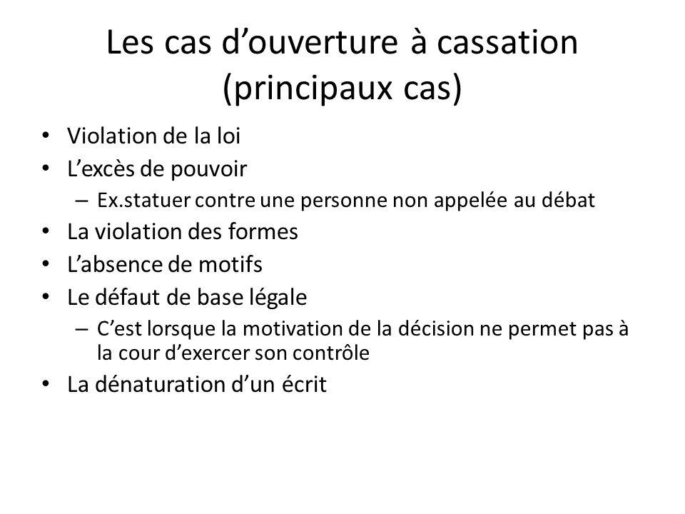Les cas douverture à cassation (principaux cas) Violation de la loi Lexcès de pouvoir – Ex.statuer contre une personne non appelée au débat La violati