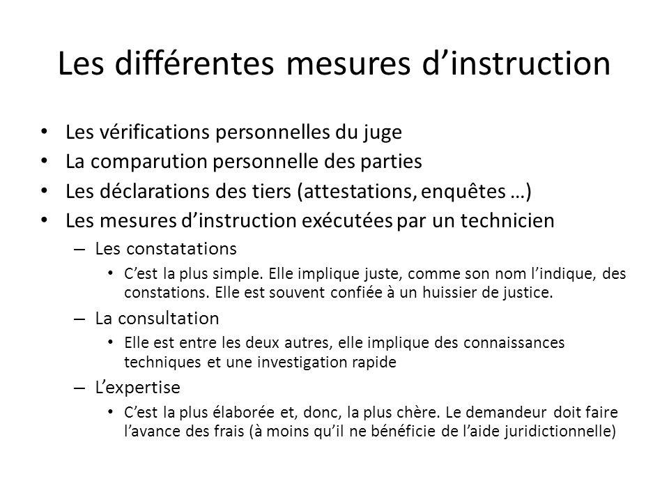 Les différentes mesures dinstruction Les vérifications personnelles du juge La comparution personnelle des parties Les déclarations des tiers (attesta
