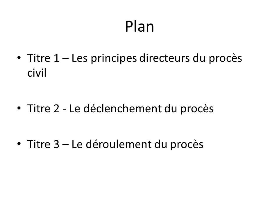 Plan Titre 1 – Les principes directeurs du procès civil Titre 2 - Le déclenchement du procès Titre 3 – Le déroulement du procès
