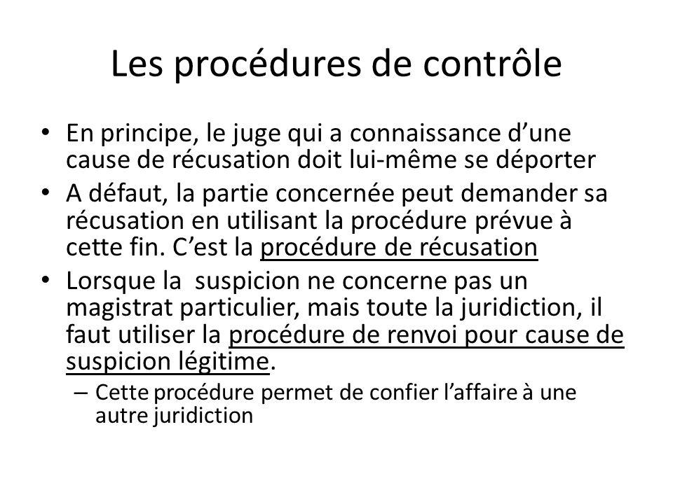 Les procédures de contrôle En principe, le juge qui a connaissance dune cause de récusation doit lui-même se déporter A défaut, la partie concernée peut demander sa récusation en utilisant la procédure prévue à cette fin.