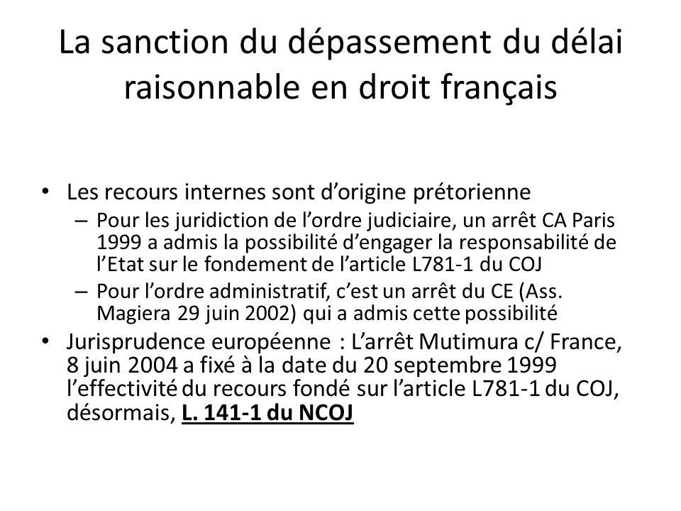 La sanction du dépassement du délai raisonnable en droit français Les recours internes sont dorigine prétorienne – Pour les juridiction de lordre judi