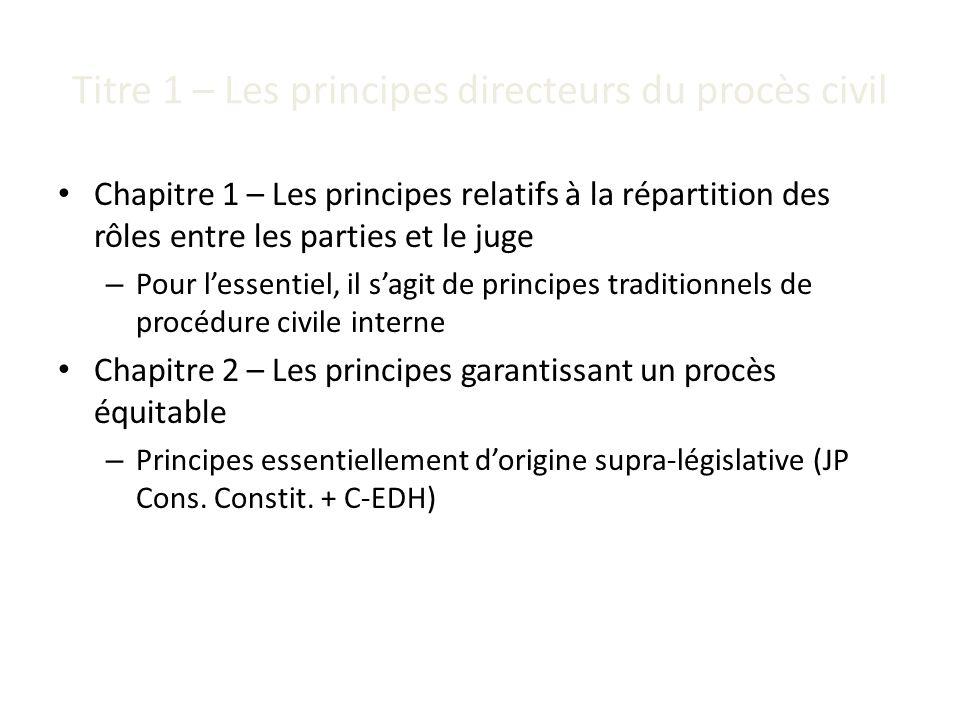 Titre 1 – Les principes directeurs du procès civil Chapitre 1 – Les principes relatifs à la répartition des rôles entre les parties et le juge – Pour