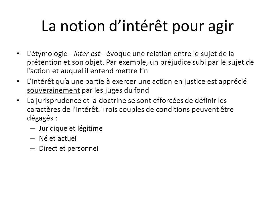 La notion dintérêt pour agir Létymologie - inter est - évoque une relation entre le sujet de la prétention et son objet. Par exemple, un préjudice sub