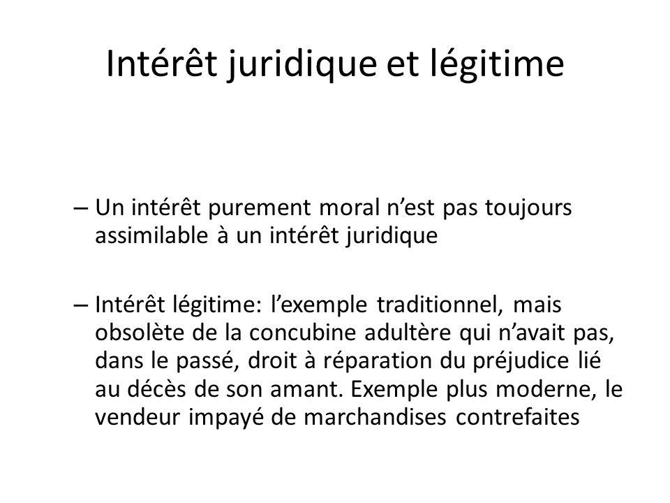 Intérêt juridique et légitime – Un intérêt purement moral nest pas toujours assimilable à un intérêt juridique – Intérêt légitime: lexemple traditionn