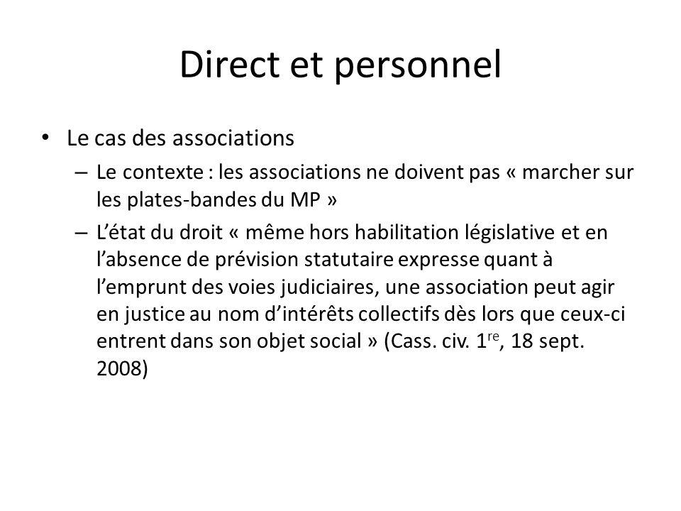 Direct et personnel Le cas des associations – Le contexte : les associations ne doivent pas « marcher sur les plates-bandes du MP » – Létat du droit «