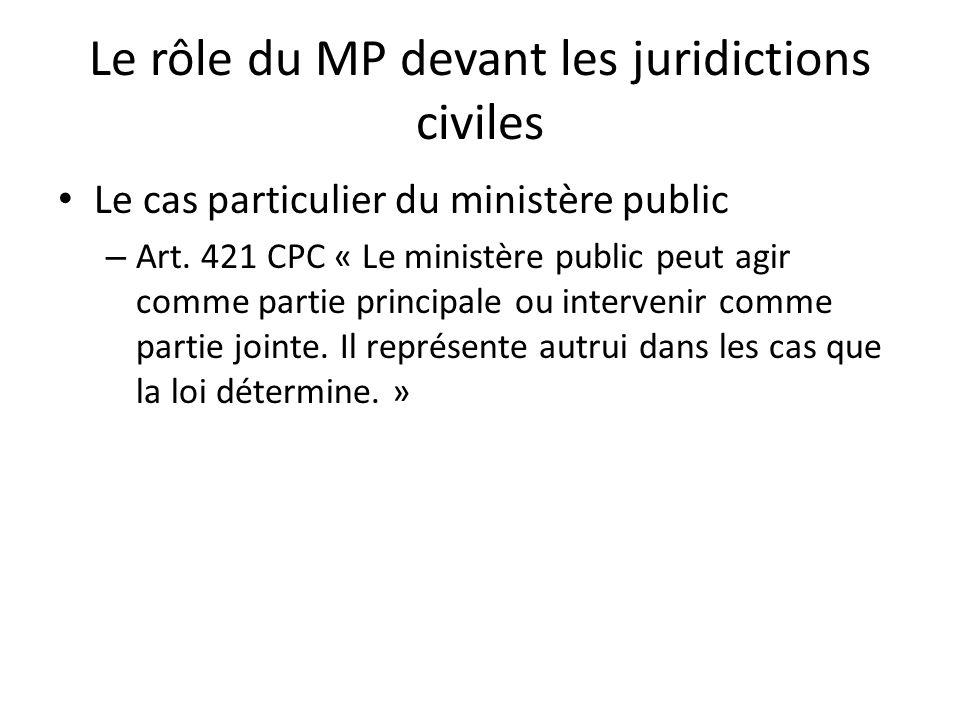 Le rôle du MP devant les juridictions civiles Le cas particulier du ministère public – Art. 421 CPC « Le ministère public peut agir comme partie princ
