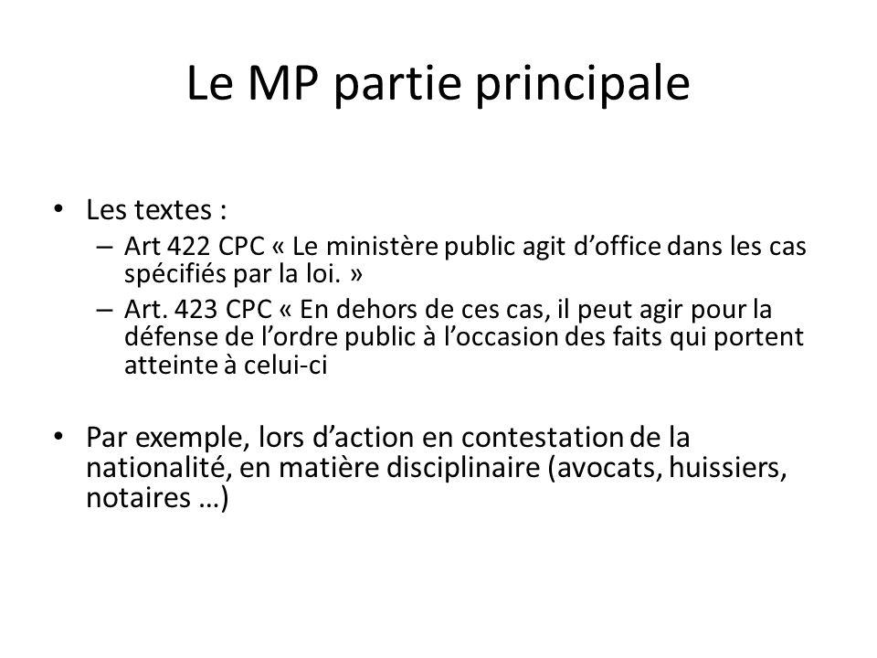 Le MP partie principale Les textes : – Art 422 CPC « Le ministère public agit doffice dans les cas spécifiés par la loi. » – Art. 423 CPC « En dehors
