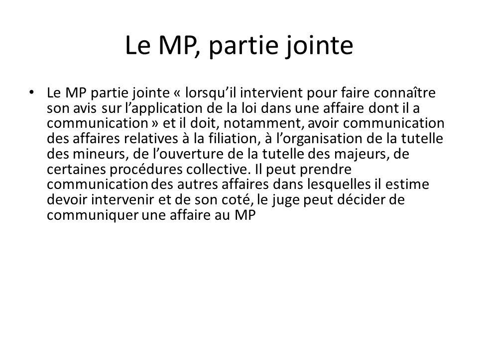 Le MP, partie jointe Le MP partie jointe « lorsquil intervient pour faire connaître son avis sur lapplication de la loi dans une affaire dont il a com