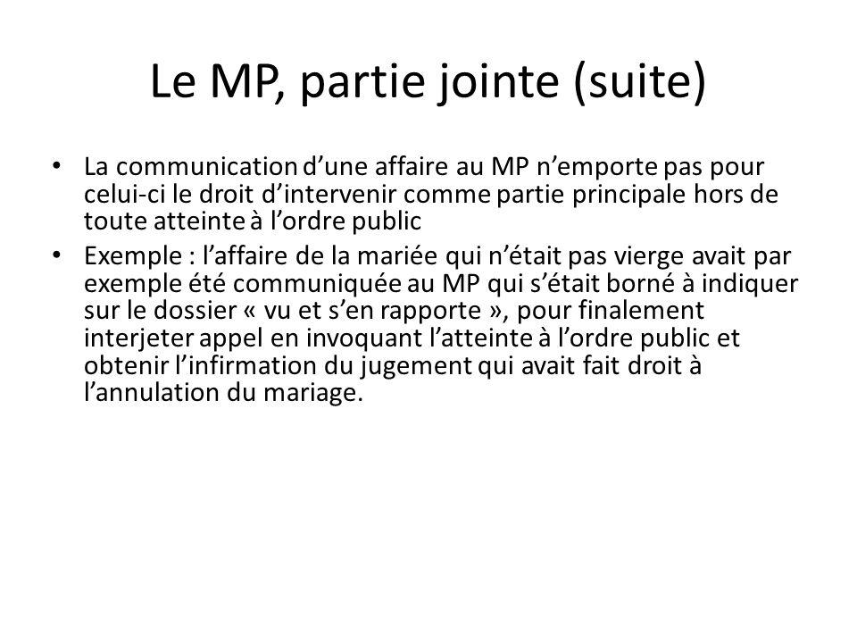 Le MP, partie jointe (suite) La communication dune affaire au MP nemporte pas pour celui-ci le droit dintervenir comme partie principale hors de toute
