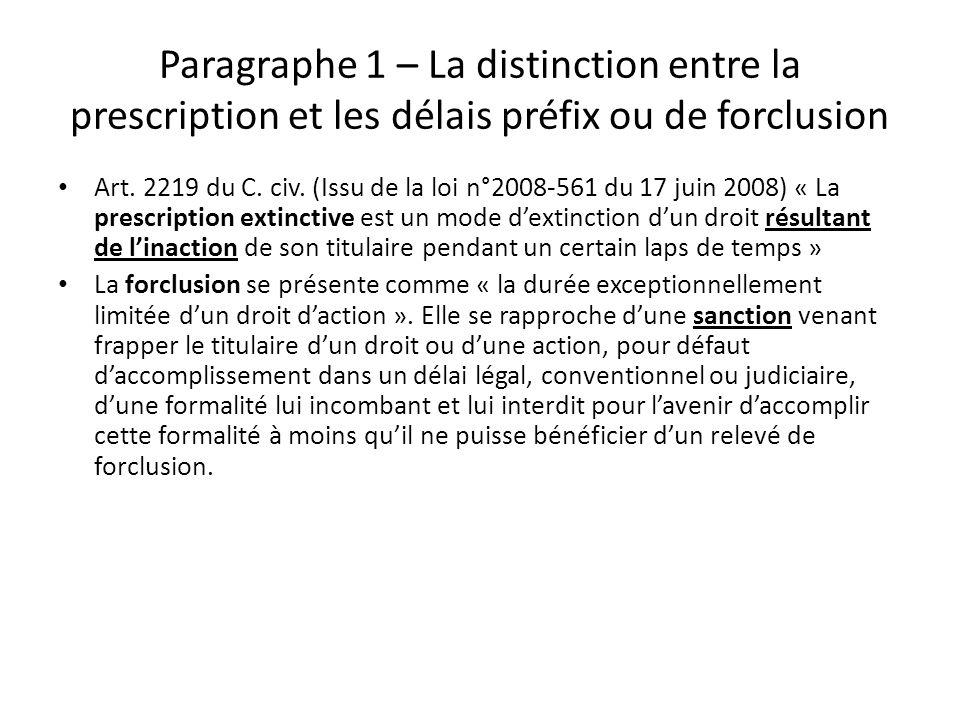 Paragraphe 1 – La distinction entre la prescription et les délais préfix ou de forclusion Art. 2219 du C. civ. (Issu de la loi n°2008-561 du 17 juin 2