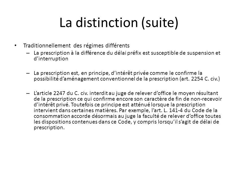 La distinction (suite) Traditionnellement des régimes différents – La prescription à la différence du délai préfix est susceptible de suspension et di