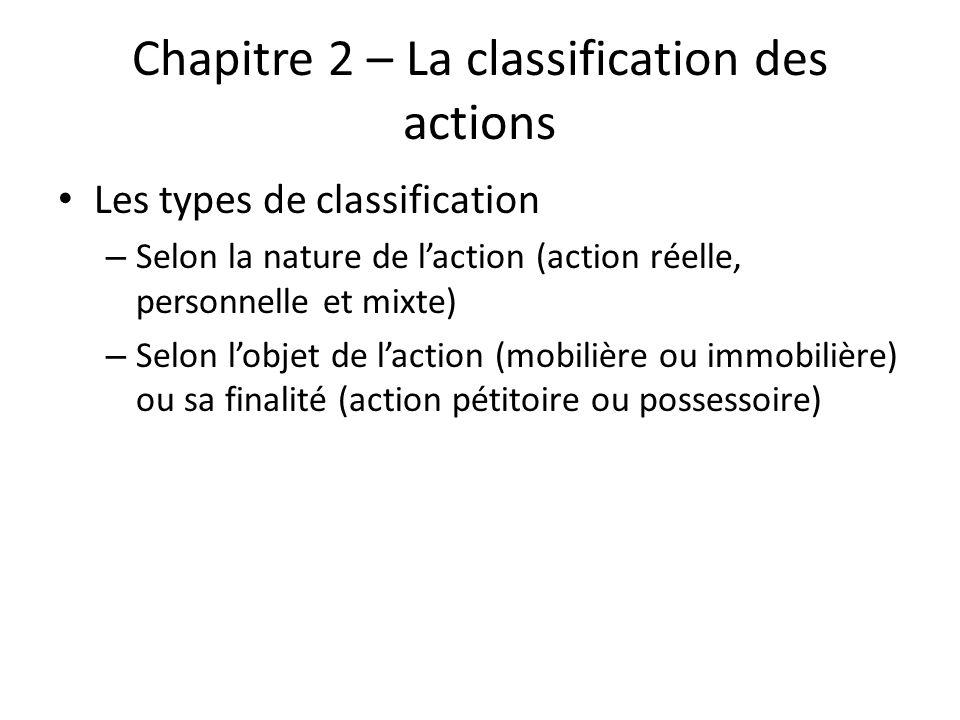 Chapitre 2 – La classification des actions Les types de classification – Selon la nature de laction (action réelle, personnelle et mixte) – Selon lobj
