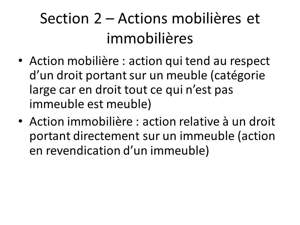 Section 2 – Actions mobilières et immobilières Action mobilière : action qui tend au respect dun droit portant sur un meuble (catégorie large car en d