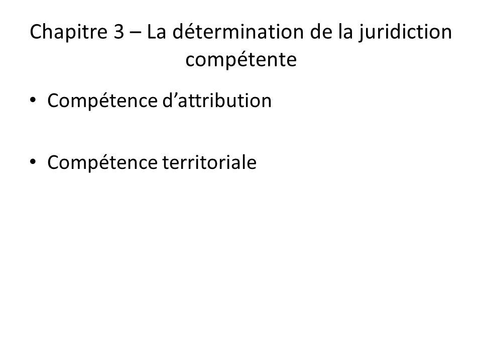 Chapitre 3 – La détermination de la juridiction compétente Compétence dattribution Compétence territoriale