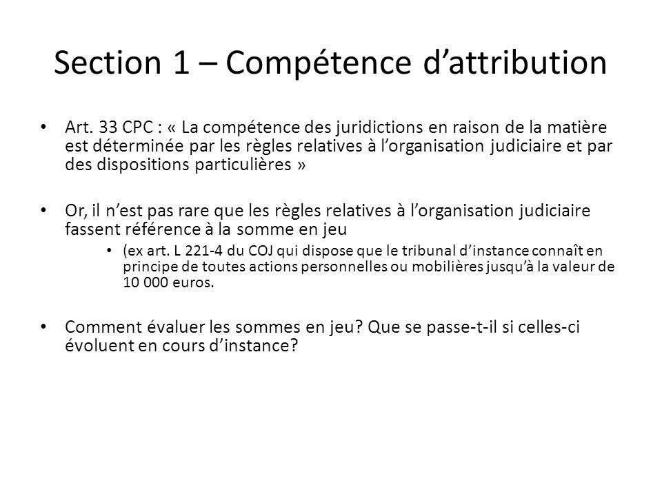 Section 1 – Compétence dattribution Art. 33 CPC : « La compétence des juridictions en raison de la matière est déterminée par les règles relatives à l