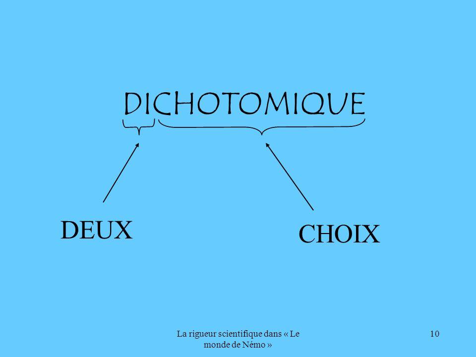 La rigueur scientifique dans « Le monde de Némo » 10 DICHOTOMIQUE DEUX CHOIX