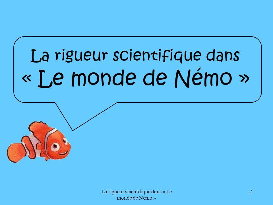La rigueur scientifique dans « Le monde de Némo » 13 Le poisson clown La raie La baleine Le pélican Lhippocampe Le requin Plan