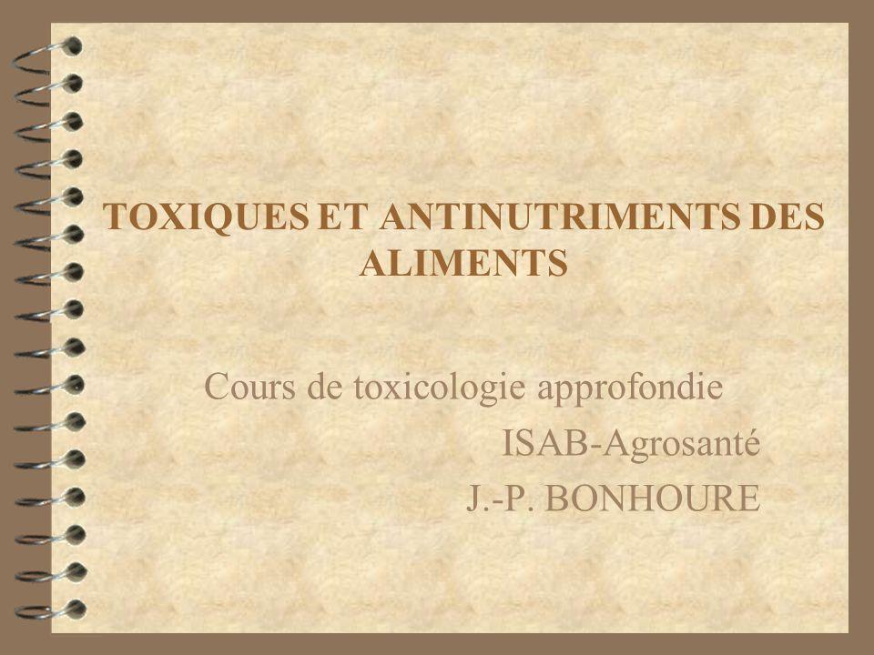 TOXIQUES ET ANTINUTRIMENTS DES ALIMENTS Cours de toxicologie approfondie ISAB-Agrosanté J.-P. BONHOURE
