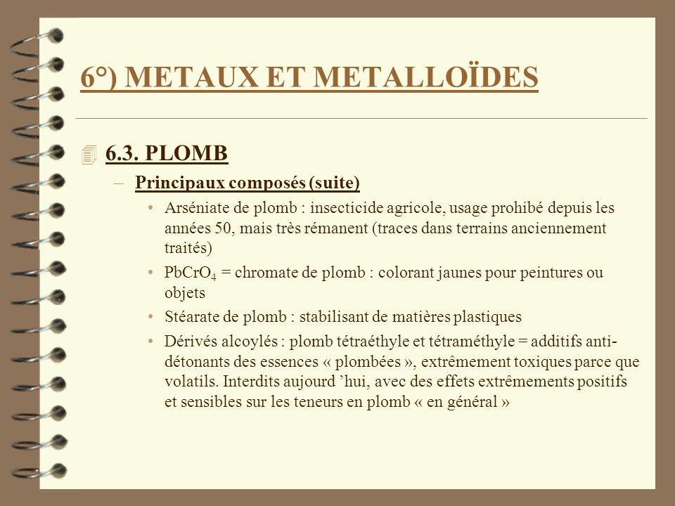 6°) METAUX ET METALLOÏDES 4 6.3. PLOMB –Principaux composés (suite) Arséniate de plomb : insecticide agricole, usage prohibé depuis les années 50, mai