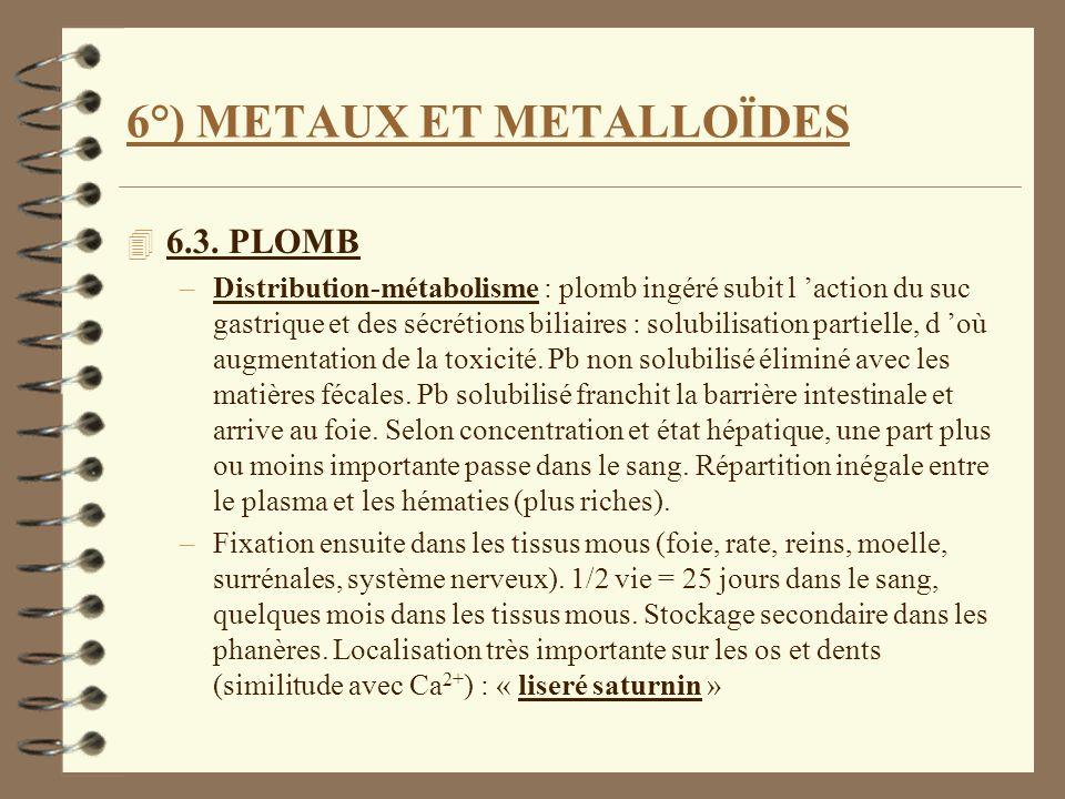 6°) METAUX ET METALLOÏDES 4 6.3. PLOMB –Distribution-métabolisme : plomb ingéré subit l action du suc gastrique et des sécrétions biliaires : solubili