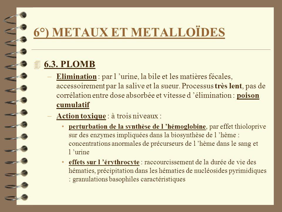 6°) METAUX ET METALLOÏDES 4 6.3. PLOMB –Elimination : par l urine, la bile et les matières fécales, accessoirement par la salive et la sueur. Processu