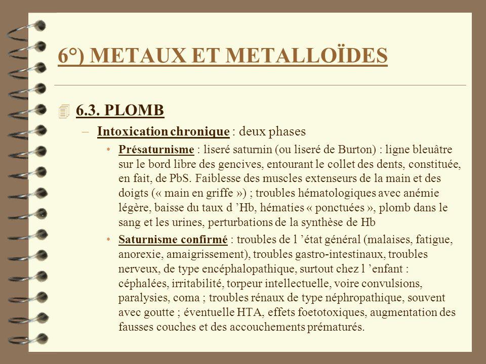 6°) METAUX ET METALLOÏDES 4 6.3. PLOMB –Intoxication chronique : deux phases Présaturnisme : liseré saturnin (ou liseré de Burton) : ligne bleuâtre su