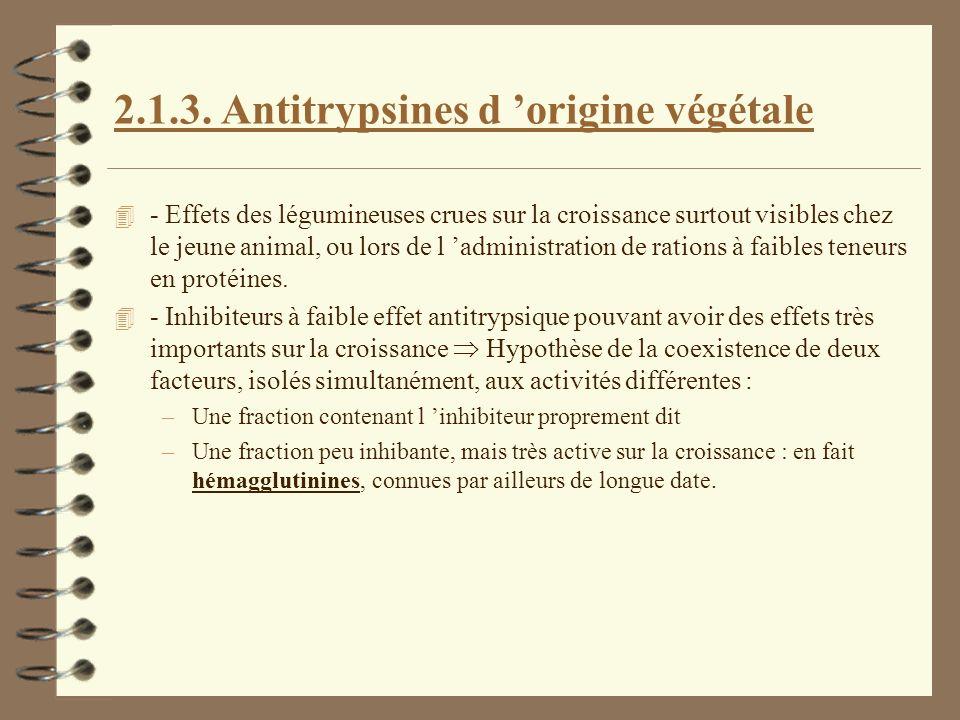 2.1.3. Antitrypsines d origine végétale 4 - Effets des légumineuses crues sur la croissance surtout visibles chez le jeune animal, ou lors de l admini