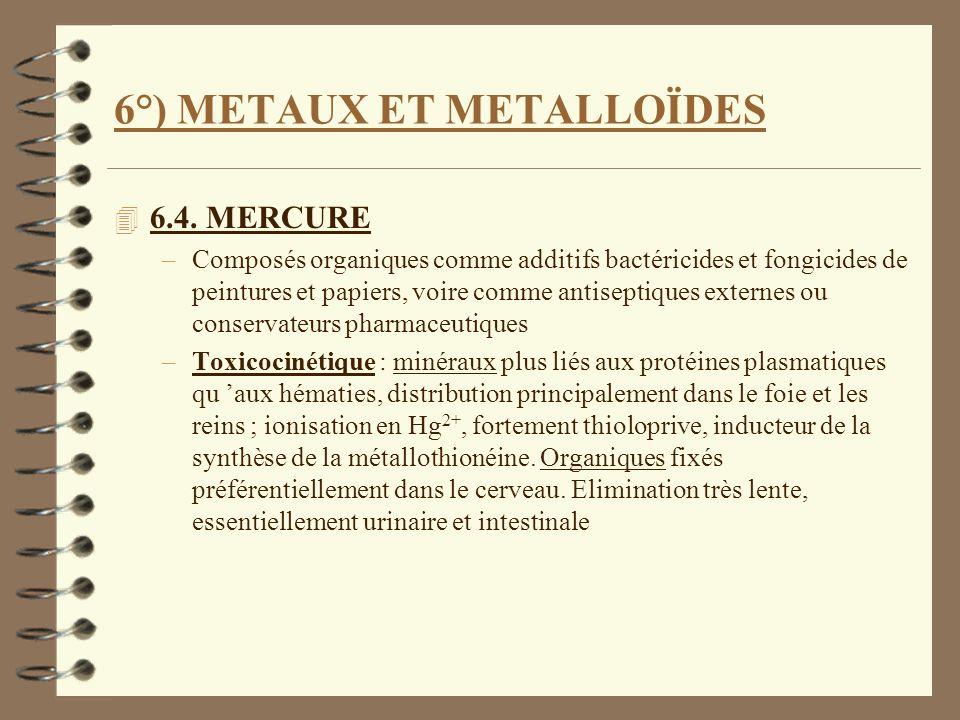 6°) METAUX ET METALLOÏDES 4 6.4. MERCURE –Composés organiques comme additifs bactéricides et fongicides de peintures et papiers, voire comme antisepti