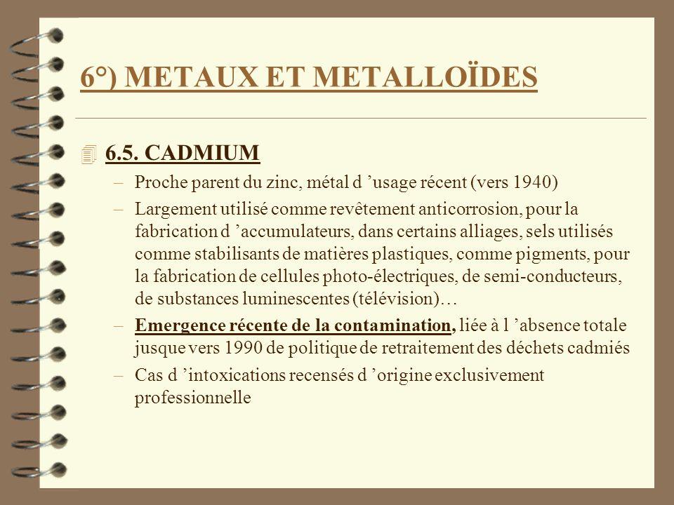 6°) METAUX ET METALLOÏDES 4 6.5. CADMIUM –Proche parent du zinc, métal d usage récent (vers 1940) –Largement utilisé comme revêtement anticorrosion, p
