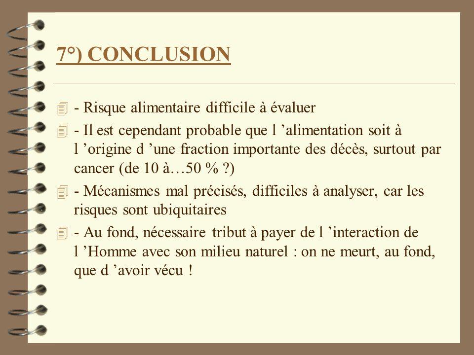 7°) CONCLUSION 4 - Risque alimentaire difficile à évaluer 4 - Il est cependant probable que l alimentation soit à l origine d une fraction importante